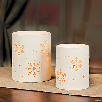 Snowflake Porcelain Bisque LED Candle Holders