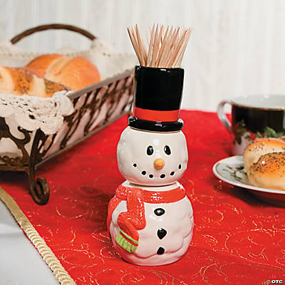 Snowman Salt & Pepper Shakers with Toothpick Holder