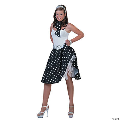 Sock Hop Skirt Black/White Adult Women's Costume