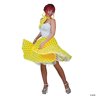 Sock Hop Skirt Yellow/Orange Adult Women's Costume