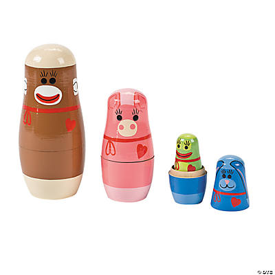 Sock Monkey & Friends Nesting Dolls