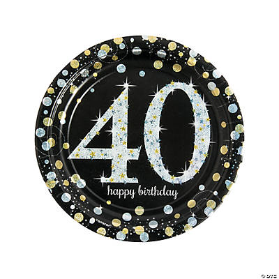 Sparkling Celebration 40th Birthday Paper Dinner Plates