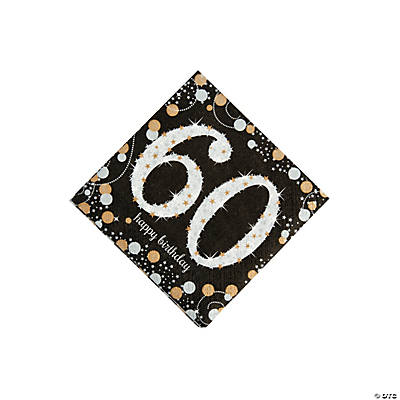Sparkling Celebration 60th Birthday Beverage Napkins