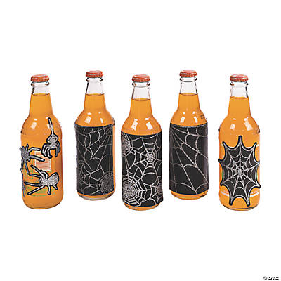 Spider Web Bottle Labels with Sticker Gems