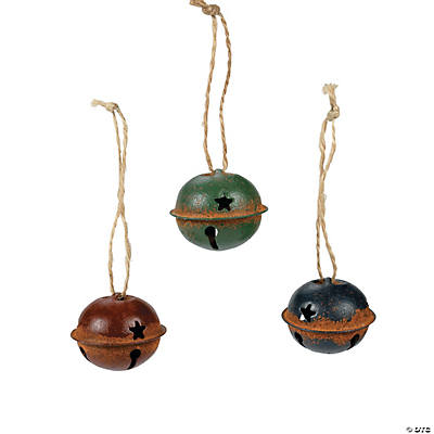 Sponge-Painted Rustic Jingle Bell Ornaments