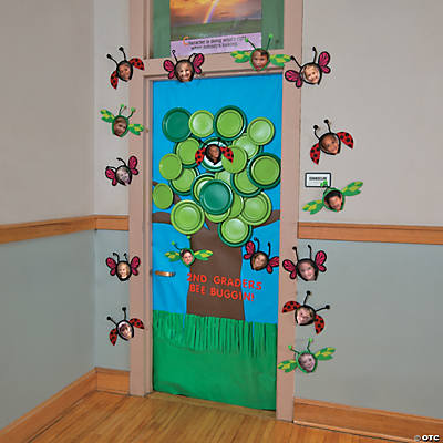 Spring tree door decoration idea for Door decorating ideas
