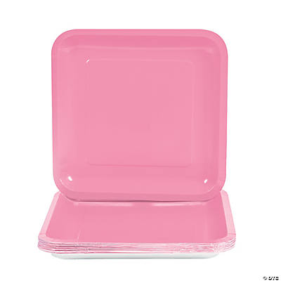 Square Dinner Plates - Candy Pink