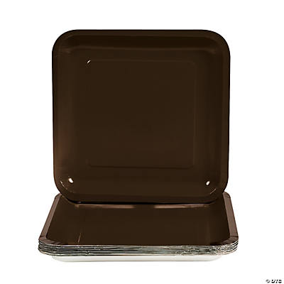 Square Dinner Plates - Chocolate Brown