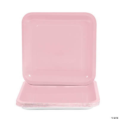 Square Dinner Plates - Light Pink