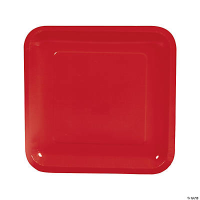 Square Dinner Plates - Red