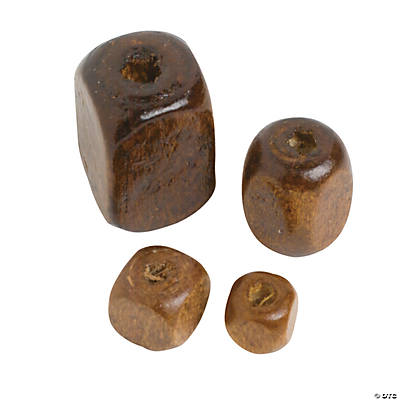 Square Wood Bead Assortment - 4mm - 13mm