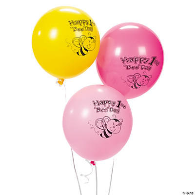 1st Birthday Bee Party Latex Balloons