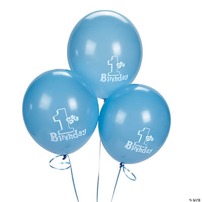1st Birthday Blue Latex Balloons