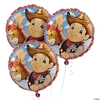 1st Birthday Cowboy Mylar Balloon Set