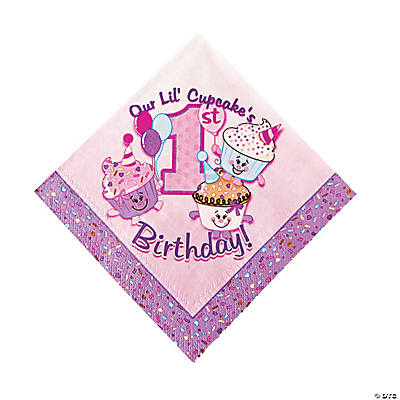 1st Birthday Cupcake Luncheon Napkins