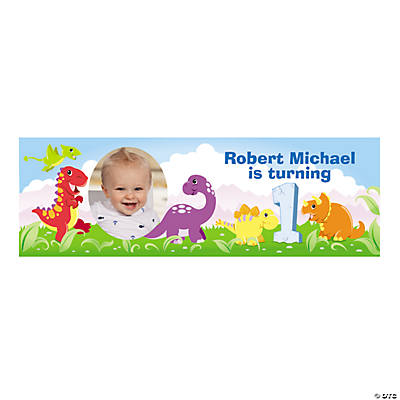 1st Birthday Dinosaur Custom Photo Banner