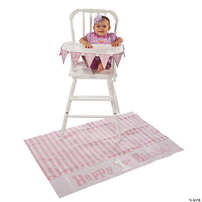 1st Birthday Pink High Chair Set