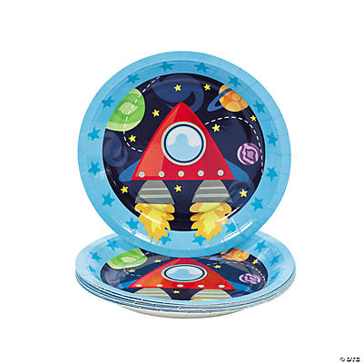 8 1st Birthday Rocket Party Dessert Plates