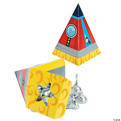 1st Birthday Rocket Party Shaped Favor Boxes