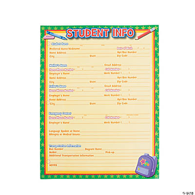Student Info Sheets