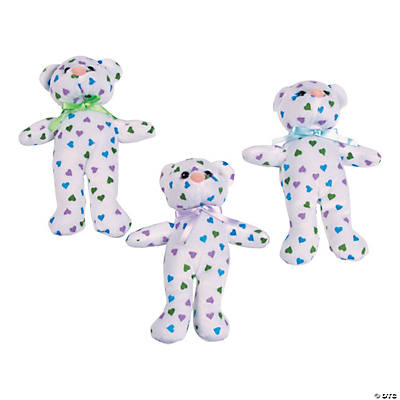 Stuffed Teddy Bears with Pastel Hearts