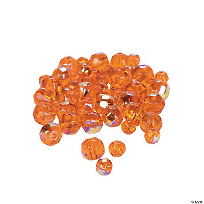 Sunset Orange Aurora Borealis Cut Crystal Round Beads - 4mm-6mm