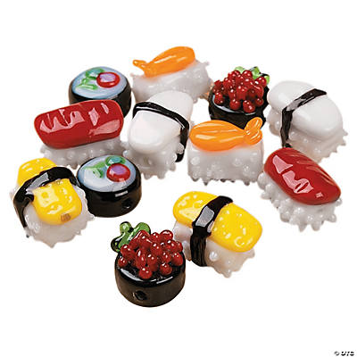 Sushi Lampwork Glass Beads - 11mm-15mm
