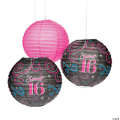 Sweet 16 Celebration Hanging Paper Lanterns