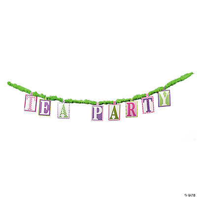 """Tea Party"" Letter Banner on Marabou"