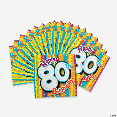 """80th Birthday"" Beverage Napkins"