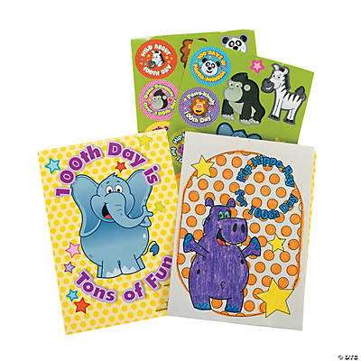 24 100th Day of School Activity Books with Stickers