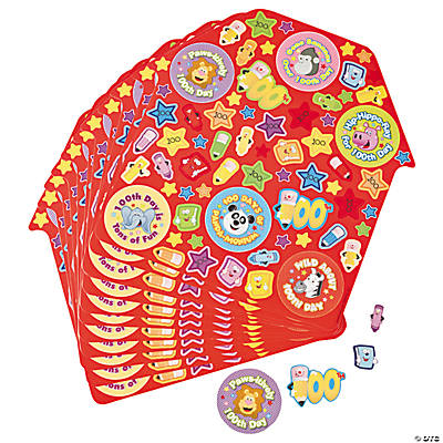 12 100th Day of School Sticker Sheets