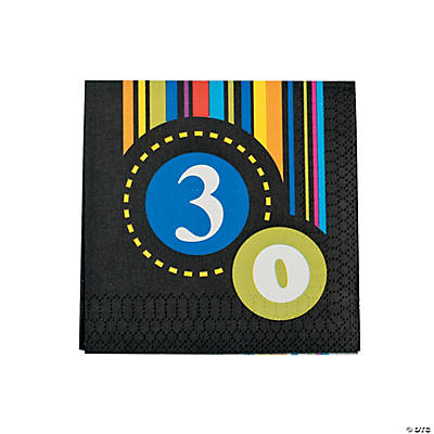"""30th"" Birthday Beverage Napkins"