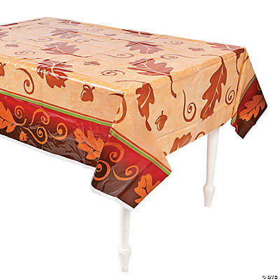 Good Thanksgiving Leaves Plastic Tablecloth