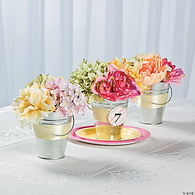 Tin Pail Flower Table Numbers Idea