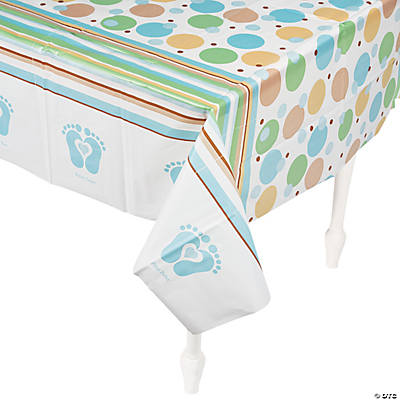 Tiny Toes Blue Baby Shower Table Cover