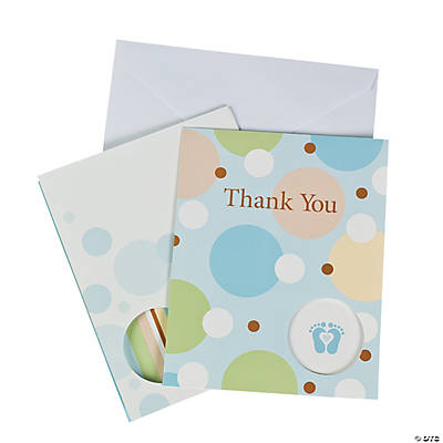 "Tiny Toes Blue Baby Shower ""Thank You"" Cards"