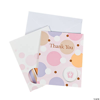 "Tiny Toes Pink Baby Shower ""Thank You"" Cards"