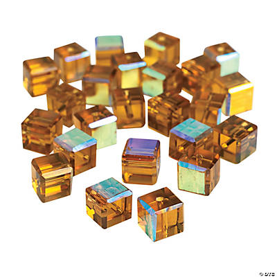 Topaz Cube AB Cut Crystal Beads - 8mm