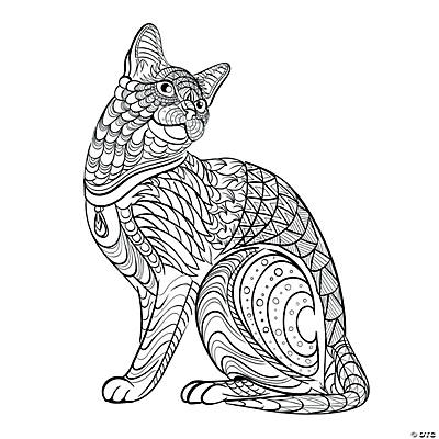 tribal cat adult coloring page free printable