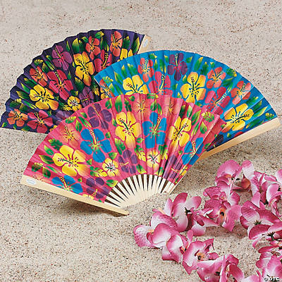 Tropical Hibiscus Folding Fans