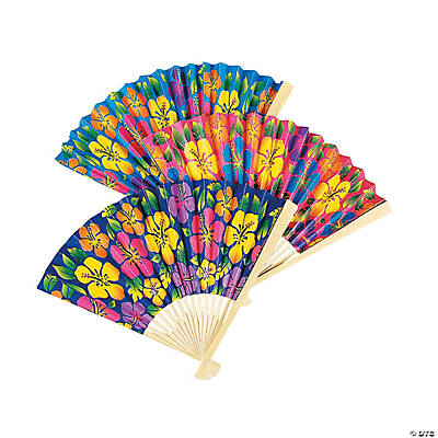 Tropical Hibiscus Folding Hand Fans