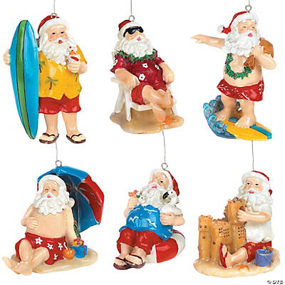 Tropical Santa Ornaments