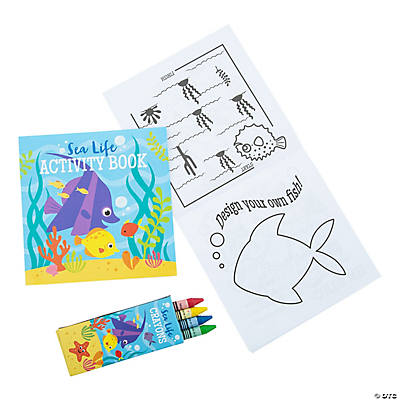 Tropical Sea Life Activity Books with Crayons