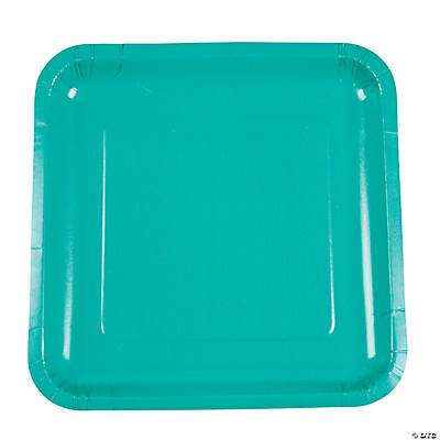 Tropical Teal Square Dinner Plates