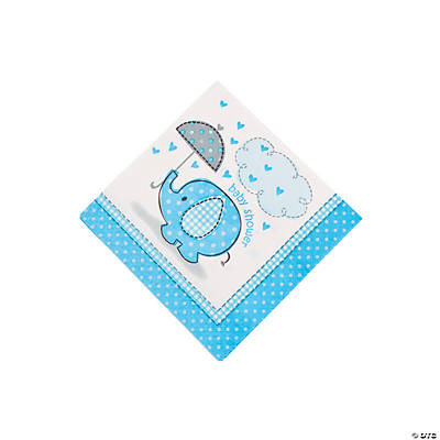 Umbrellaphants Blue Beverage Napkins