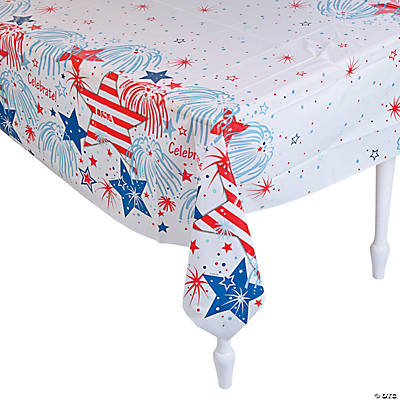 USA Fireworks Plastic Tablecloth