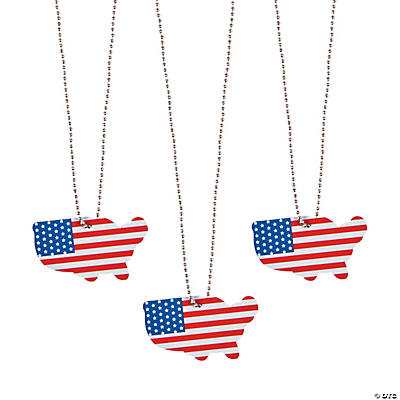 USA-Shaped Dog Tag Necklaces