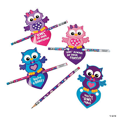 Valentine Owl Cards with Pencils Oriental Trading – Owl Valentine Card