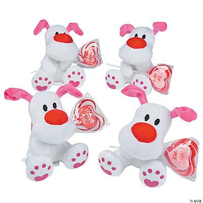 valentine stuffed dogs with lollipops - Valentine Lollipops